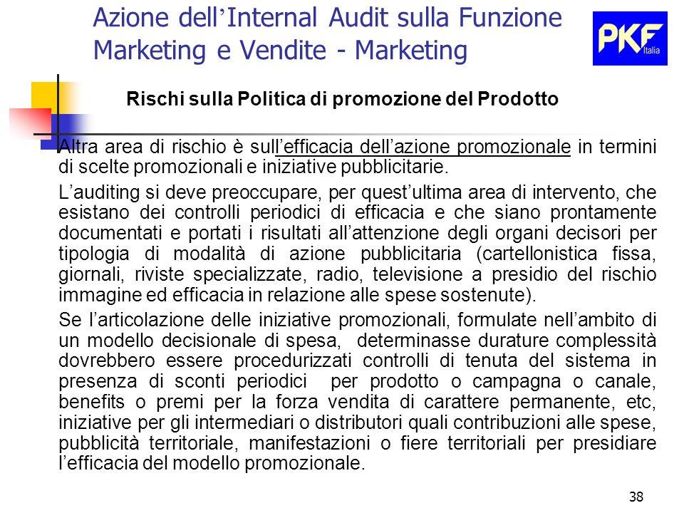 38 Azione dell Internal Audit sulla Funzione Marketing e Vendite - Marketing Rischi sulla Politica di promozione del Prodotto Altra area di rischio è