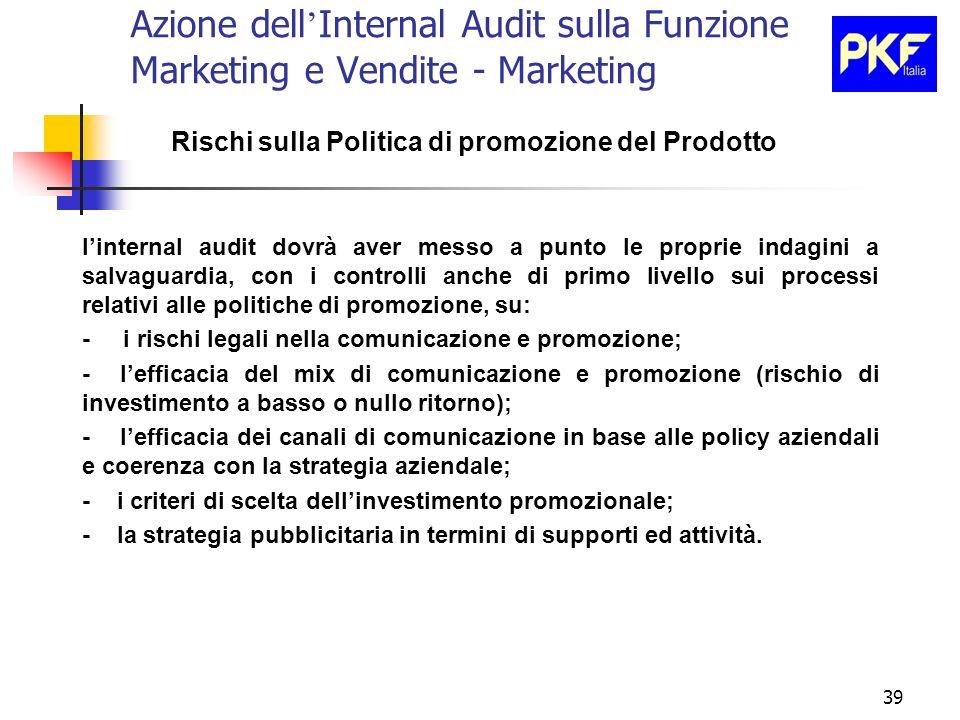 39 Azione dell Internal Audit sulla Funzione Marketing e Vendite - Marketing Rischi sulla Politica di promozione del Prodotto linternal audit dovrà av