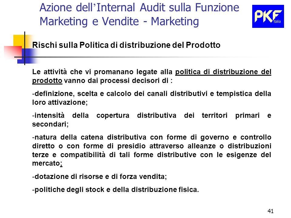 41 Azione dell Internal Audit sulla Funzione Marketing e Vendite - Marketing Rischi sulla Politica di distribuzione del Prodotto Le attività che vi pr