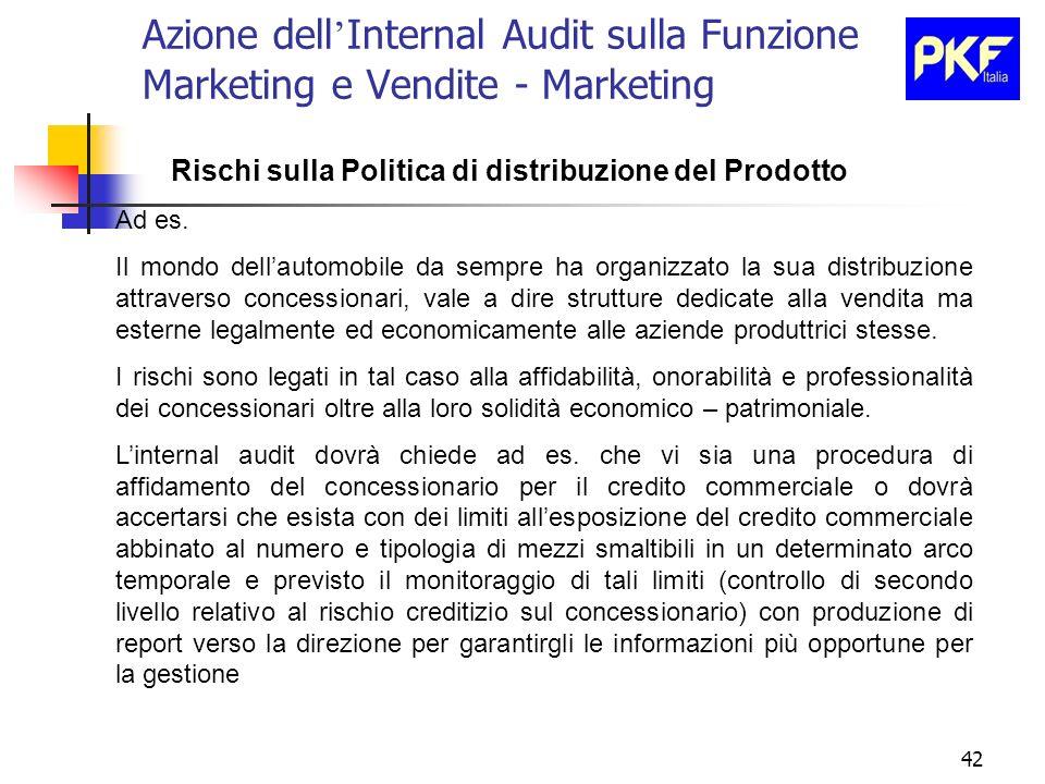 42 Azione dell Internal Audit sulla Funzione Marketing e Vendite - Marketing Rischi sulla Politica di distribuzione del Prodotto Ad es. Il mondo della