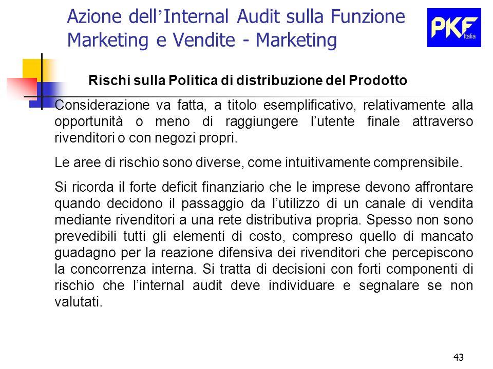 43 Azione dell Internal Audit sulla Funzione Marketing e Vendite - Marketing Rischi sulla Politica di distribuzione del Prodotto Considerazione va fat