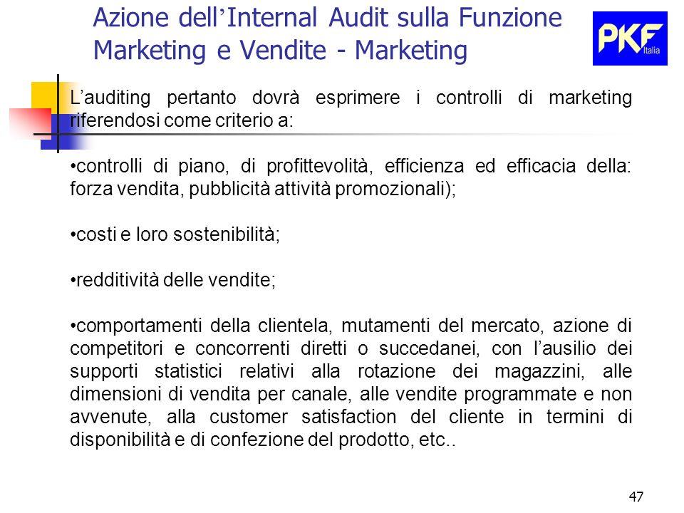 47 Azione dell Internal Audit sulla Funzione Marketing e Vendite - Marketing Lauditing pertanto dovrà esprimere i controlli di marketing riferendosi c