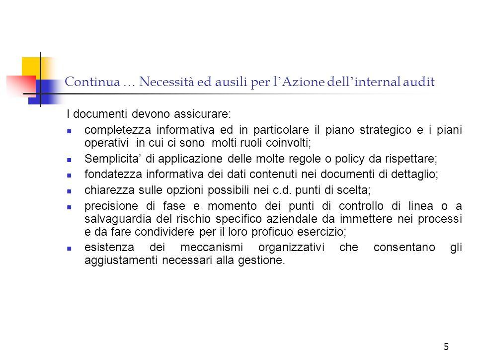 5 Continua … Necessit à ed ausili per l Azione dell internal audit I documenti devono assicurare: completezza informativa ed in particolare il piano s