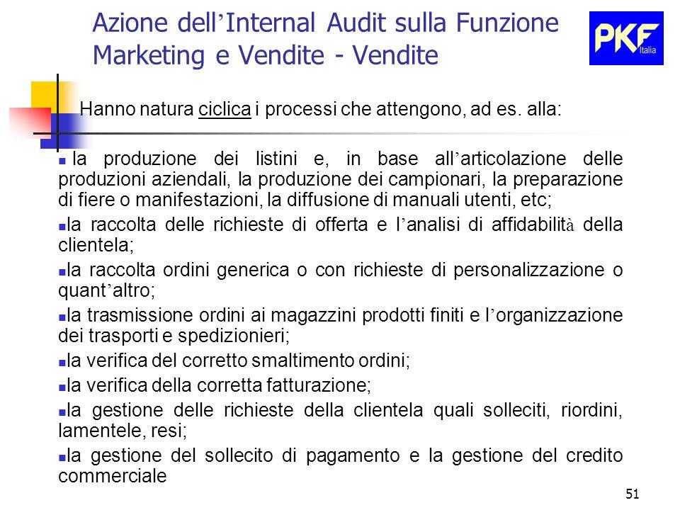 51 Azione dell Internal Audit sulla Funzione Marketing e Vendite - Vendite Hanno natura ciclica i processi che attengono, ad es. alla: la produzione d