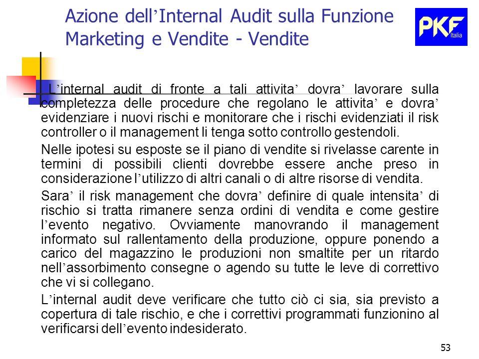 53 Azione dell Internal Audit sulla Funzione Marketing e Vendite - Vendite L internal audit di fronte a tali attivita dovra lavorare sulla completezza