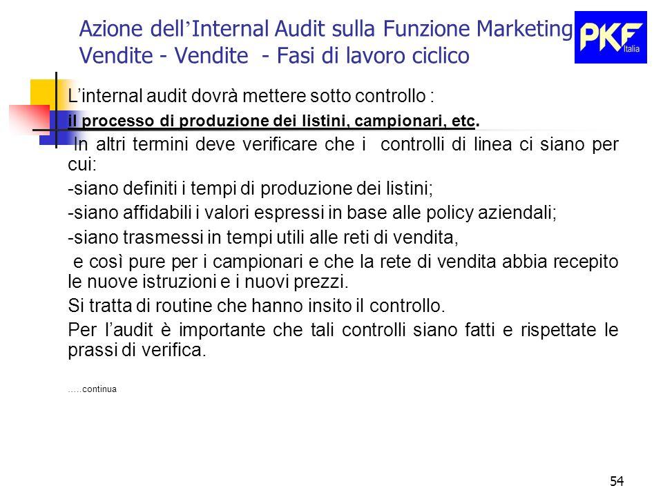 54 Azione dell Internal Audit sulla Funzione Marketing e Vendite - Vendite - Fasi di lavoro ciclico Linternal audit dovrà mettere sotto controllo : il