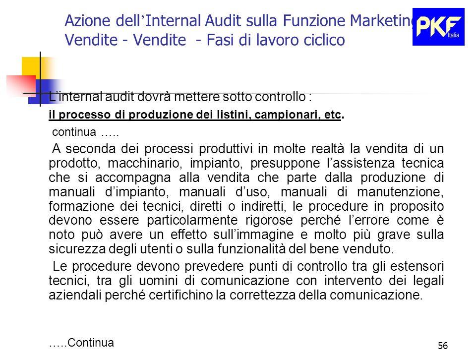 56 Azione dell Internal Audit sulla Funzione Marketing e Vendite - Vendite - Fasi di lavoro ciclico Linternal audit dovrà mettere sotto controllo : il