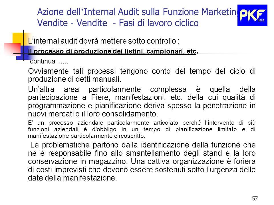 57 Azione dell Internal Audit sulla Funzione Marketing e Vendite - Vendite - Fasi di lavoro ciclico Linternal audit dovrà mettere sotto controllo : il
