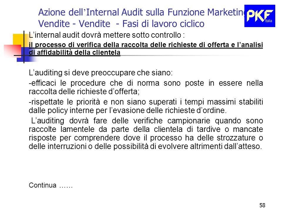 58 Azione dell Internal Audit sulla Funzione Marketing e Vendite - Vendite - Fasi di lavoro ciclico Linternal audit dovrà mettere sotto controllo : il