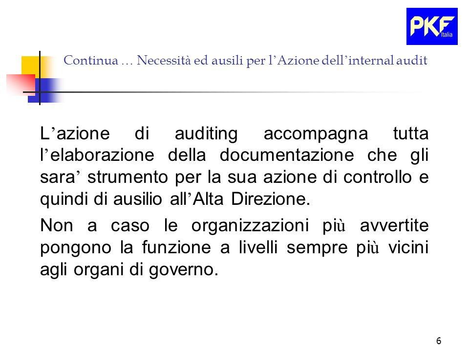 6 Continua … Necessit à ed ausili per l Azione dell internal audit L azione di auditing accompagna tutta l elaborazione della documentazione che gli s