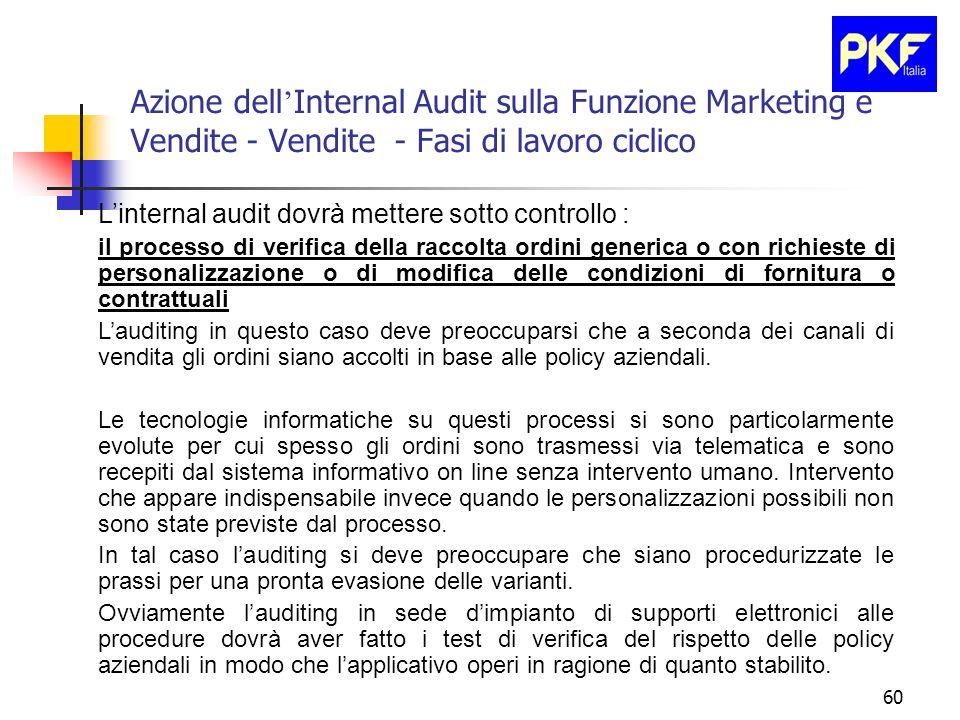60 Azione dell Internal Audit sulla Funzione Marketing e Vendite - Vendite - Fasi di lavoro ciclico Linternal audit dovrà mettere sotto controllo : il