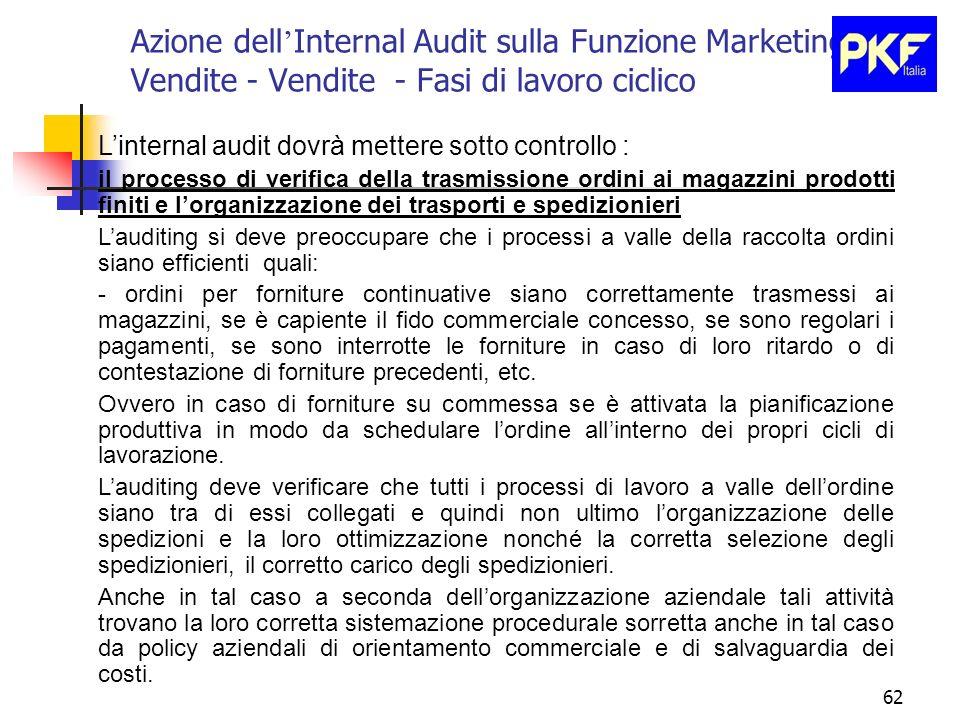 62 Azione dell Internal Audit sulla Funzione Marketing e Vendite - Vendite - Fasi di lavoro ciclico Linternal audit dovrà mettere sotto controllo : il