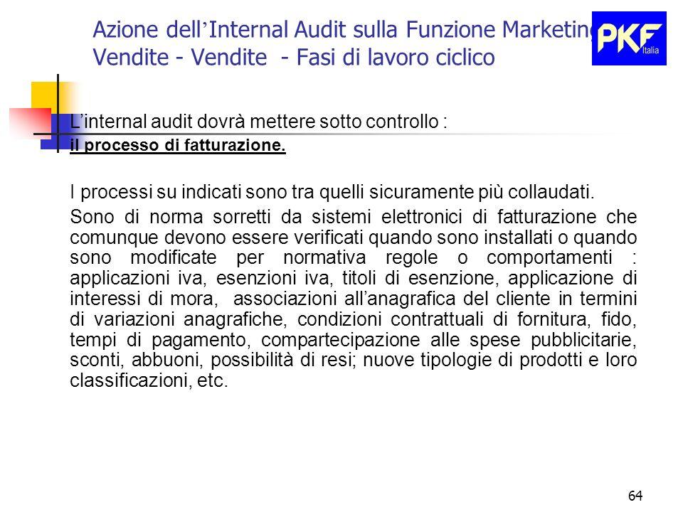 64 Azione dell Internal Audit sulla Funzione Marketing e Vendite - Vendite - Fasi di lavoro ciclico Linternal audit dovrà mettere sotto controllo : il