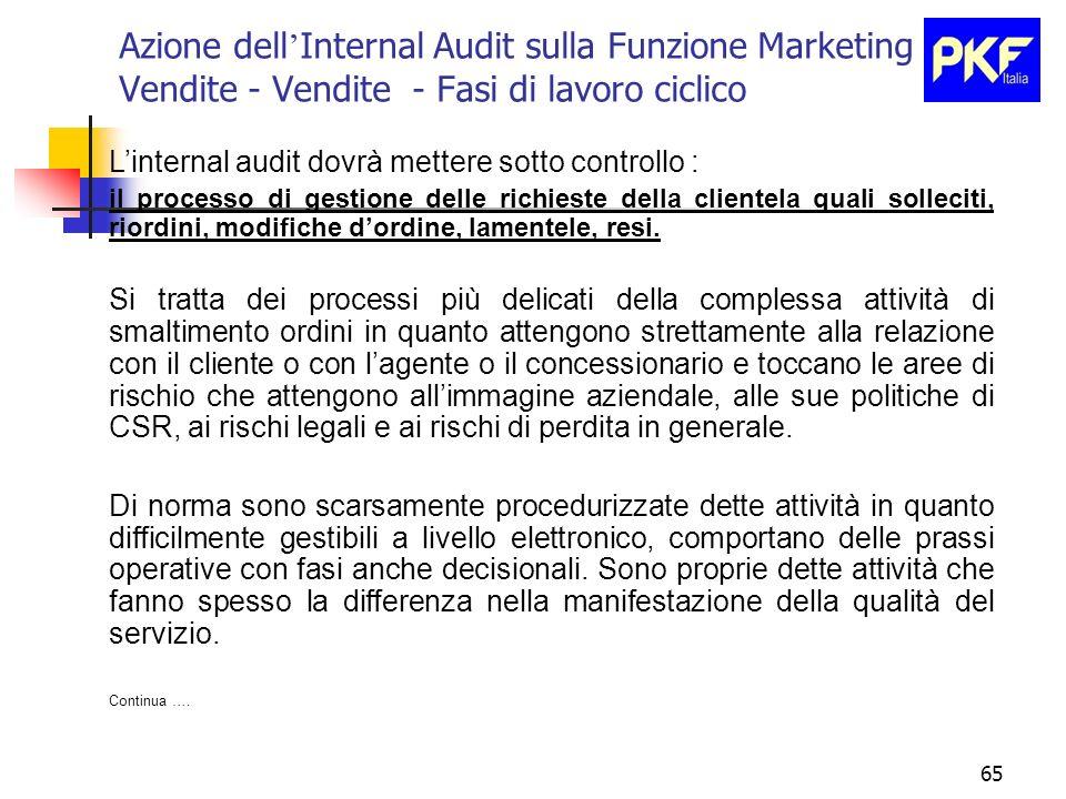 65 Azione dell Internal Audit sulla Funzione Marketing e Vendite - Vendite - Fasi di lavoro ciclico Linternal audit dovrà mettere sotto controllo : il