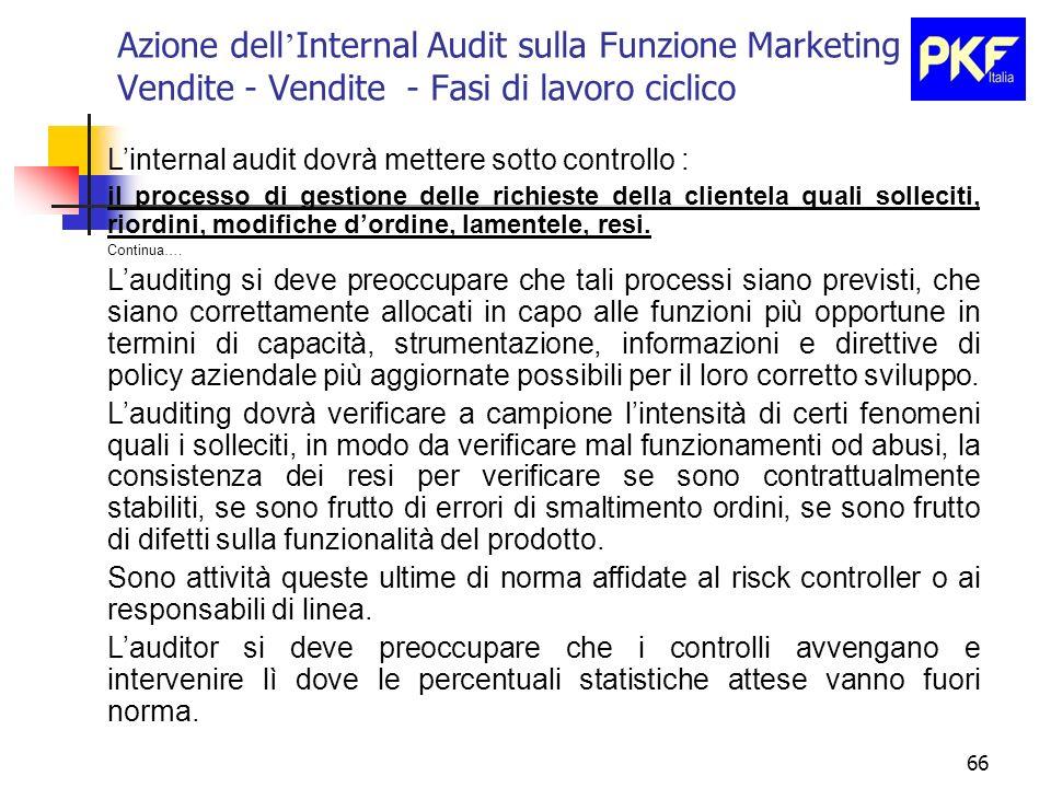 66 Azione dell Internal Audit sulla Funzione Marketing e Vendite - Vendite - Fasi di lavoro ciclico Linternal audit dovrà mettere sotto controllo : il