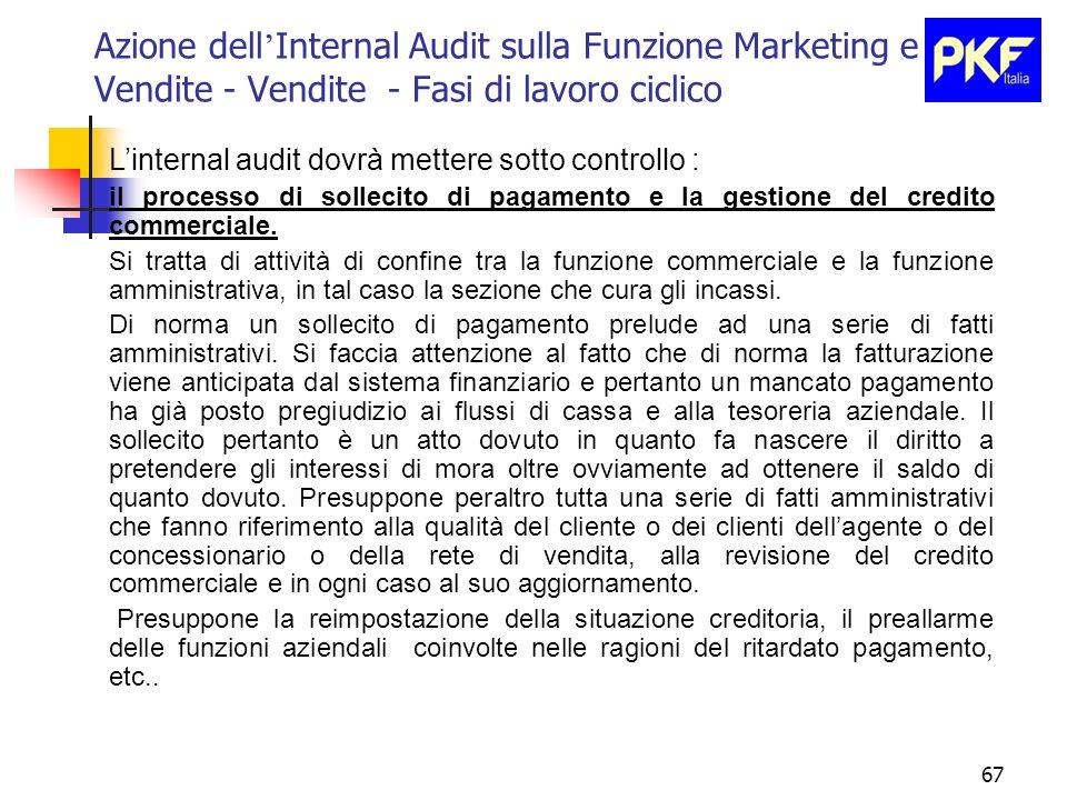 67 Azione dell Internal Audit sulla Funzione Marketing e Vendite - Vendite - Fasi di lavoro ciclico Linternal audit dovrà mettere sotto controllo : il