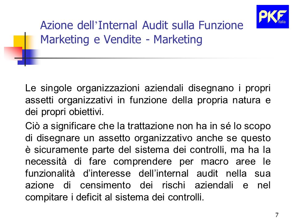 8 Azione dell Internal Audit sulla Funzione Marketing e Vendite - Marketing Le attivita di marketing hanno delle importanti componenti di rischio.