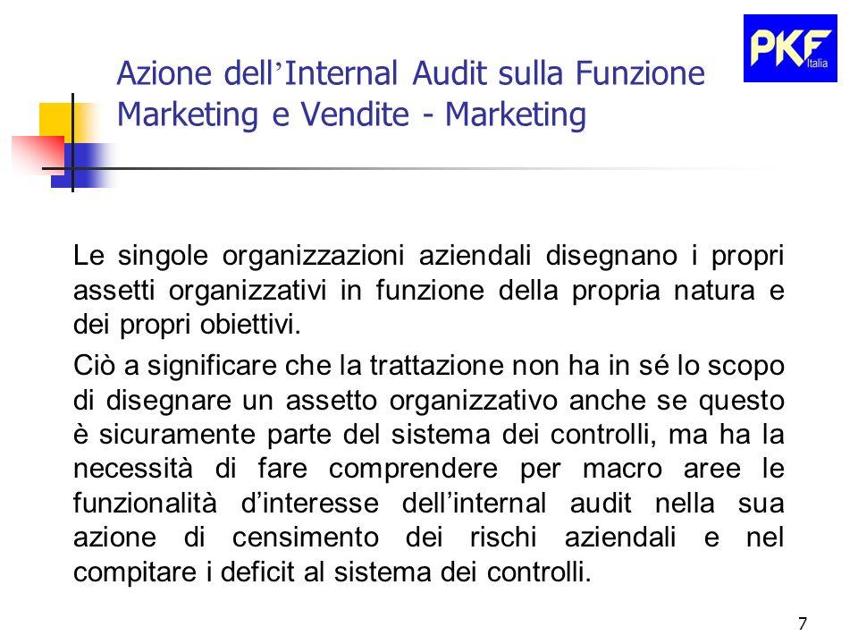 7 Azione dell Internal Audit sulla Funzione Marketing e Vendite - Marketing Le singole organizzazioni aziendali disegnano i propri assetti organizzati