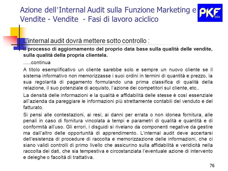 76 Azione dell Internal Audit sulla Funzione Marketing e Vendite - Vendite - Fasi di lavoro aciclico Linternal audit dovrà mettere sotto controllo : i