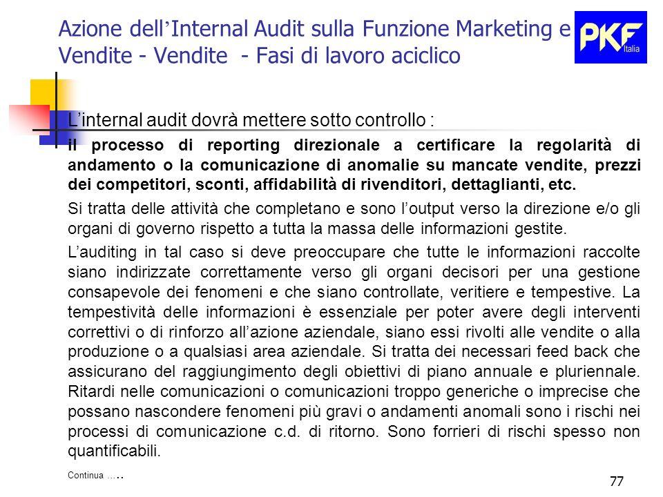 77 Azione dell Internal Audit sulla Funzione Marketing e Vendite - Vendite - Fasi di lavoro aciclico Linternal audit dovrà mettere sotto controllo : i