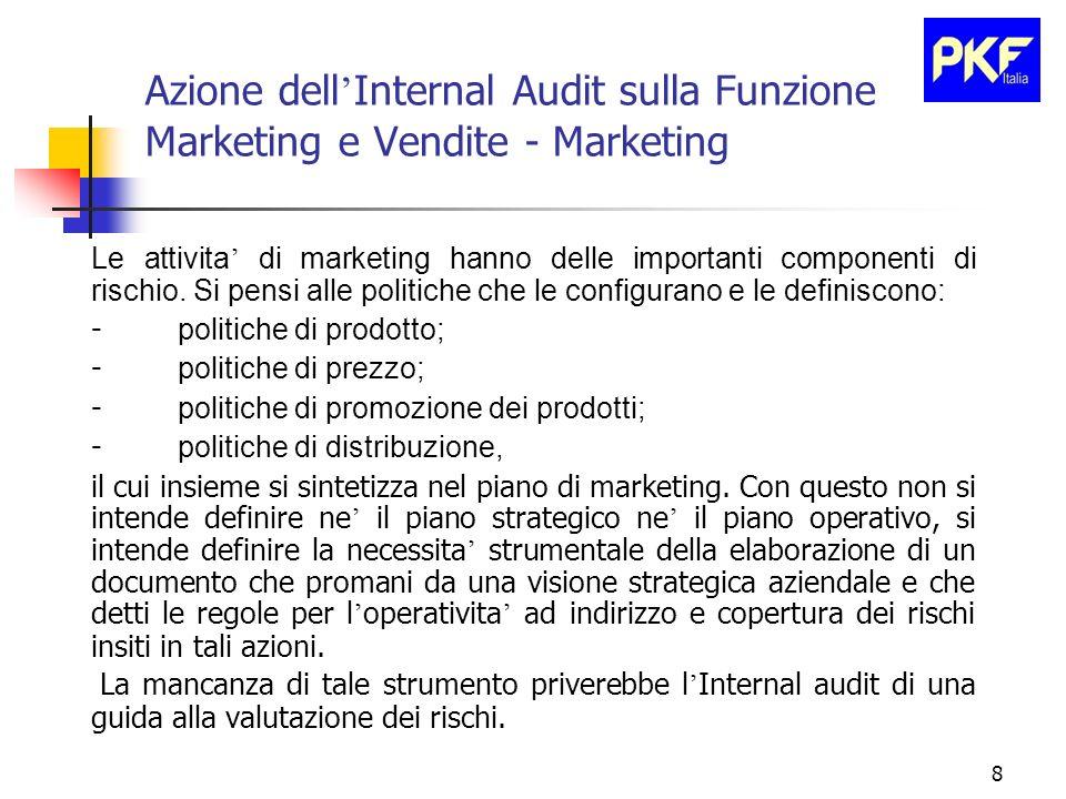 8 Azione dell Internal Audit sulla Funzione Marketing e Vendite - Marketing Le attivita di marketing hanno delle importanti componenti di rischio. Si