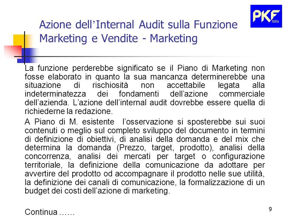 9 Azione dell Internal Audit sulla Funzione Marketing e Vendite - Marketing La funzione perderebbe significato se il Piano di Marketing non fosse elab