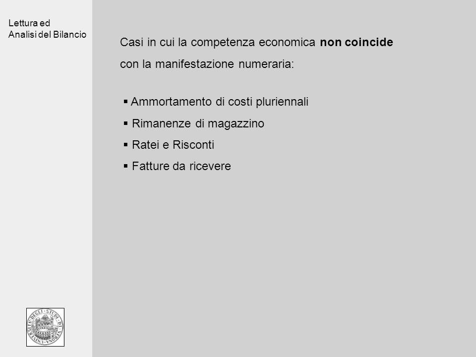 Lettura ed Analisi del Bilancio Casi in cui la competenza economica non coincide con la manifestazione numeraria: Ammortamento di costi pluriennali Ri