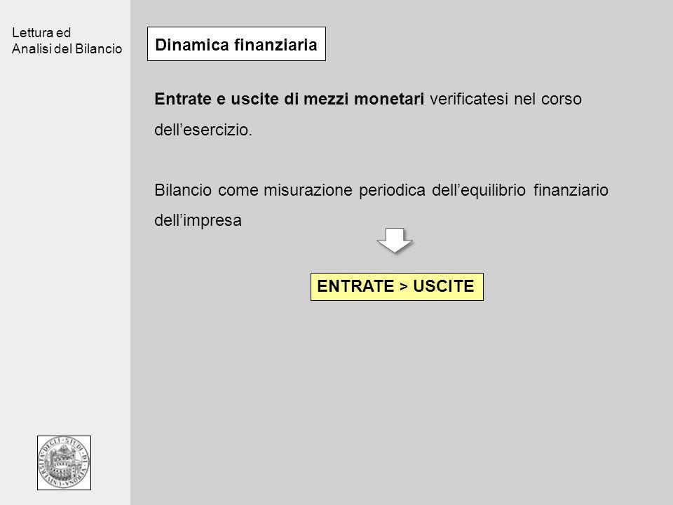 Lettura ed Analisi del Bilancio Dinamica finanziaria Entrate e uscite di mezzi monetari verificatesi nel corso dellesercizio. Bilancio come misurazion