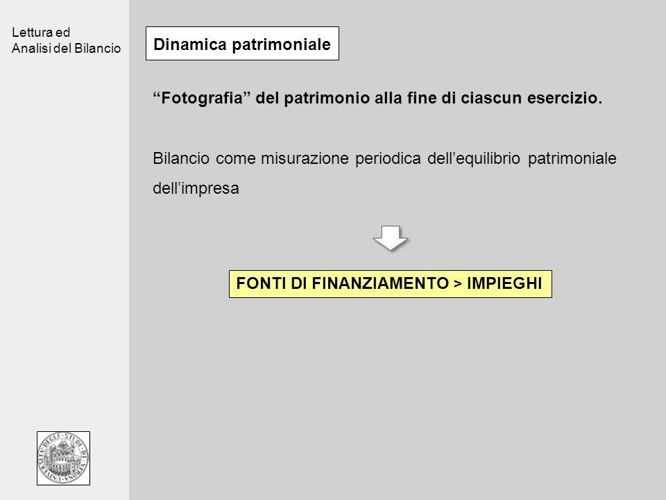 Lettura ed Analisi del Bilancio Dinamica patrimoniale Fotografia del patrimonio alla fine di ciascun esercizio.