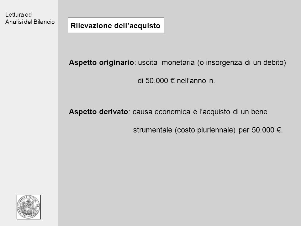 Lettura ed Analisi del Bilancio Rilevazione dellacquisto Aspetto originario: uscita monetaria (o insorgenza di un debito) di 50.000 nellanno n.