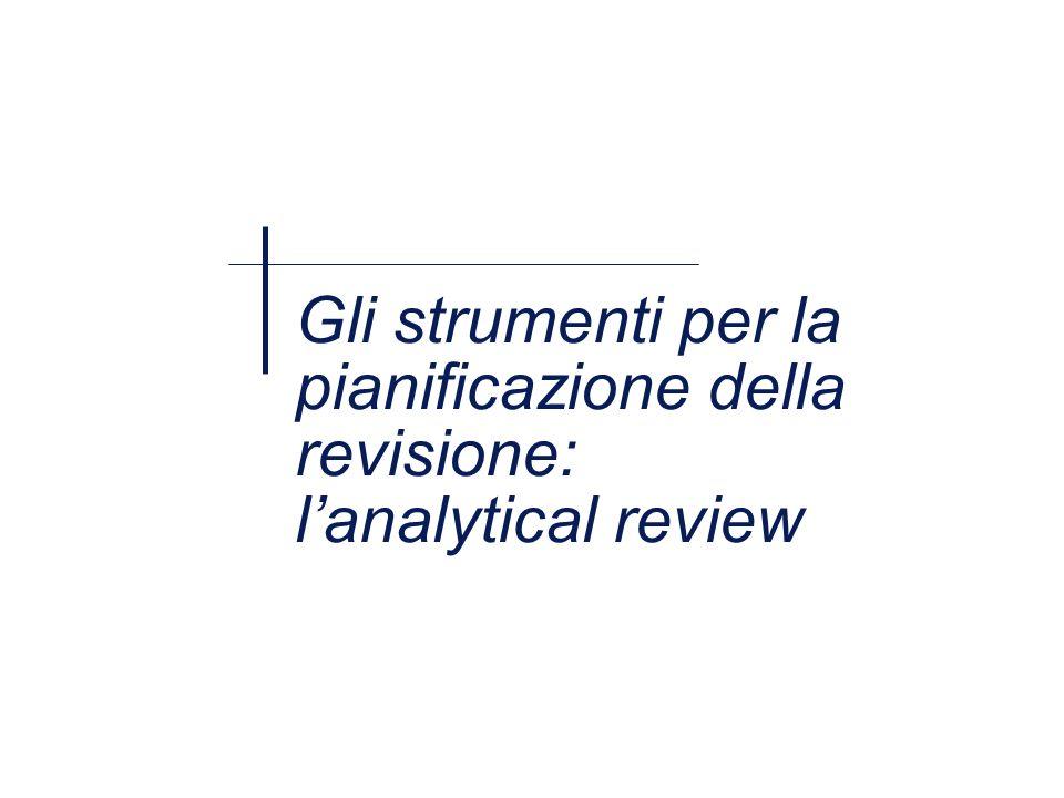 Gli strumenti per la pianificazione della revisione: lanalytical review