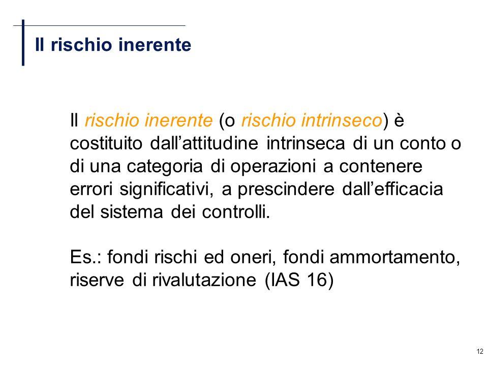 12 Il rischio inerente Il rischio inerente (o rischio intrinseco) è costituito dallattitudine intrinseca di un conto o di una categoria di operazioni