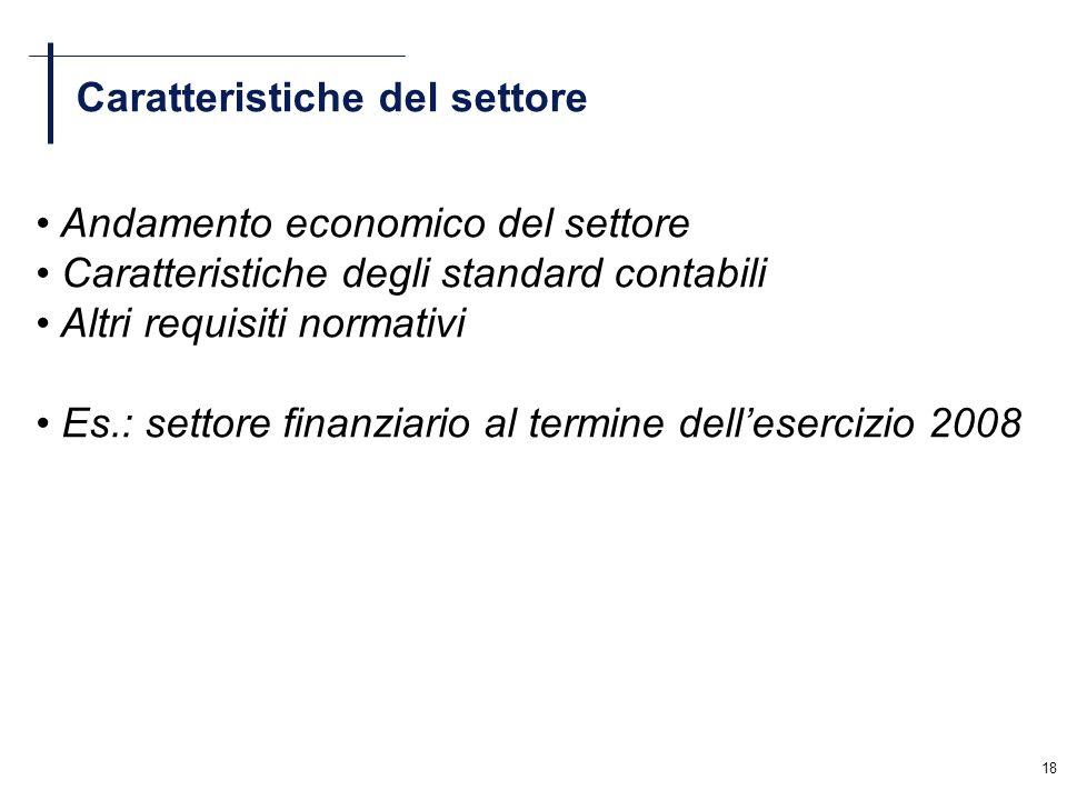 18 Caratteristiche del settore Andamento economico del settore Caratteristiche degli standard contabili Altri requisiti normativi Es.: settore finanzi