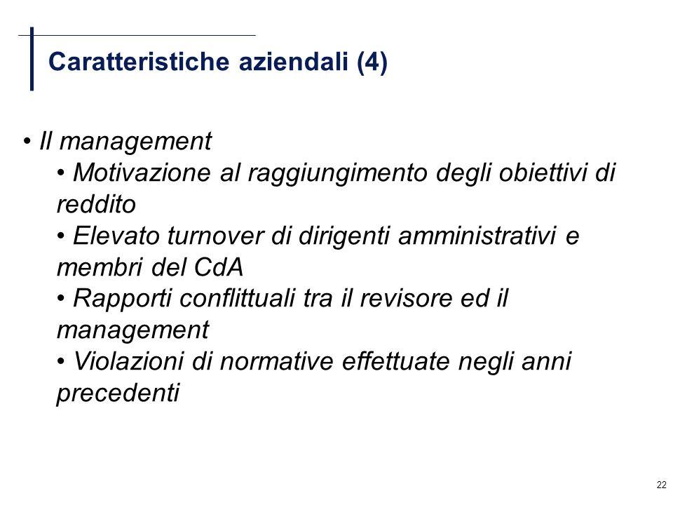 22 Caratteristiche aziendali (4) Il management Motivazione al raggiungimento degli obiettivi di reddito Elevato turnover di dirigenti amministrativi e