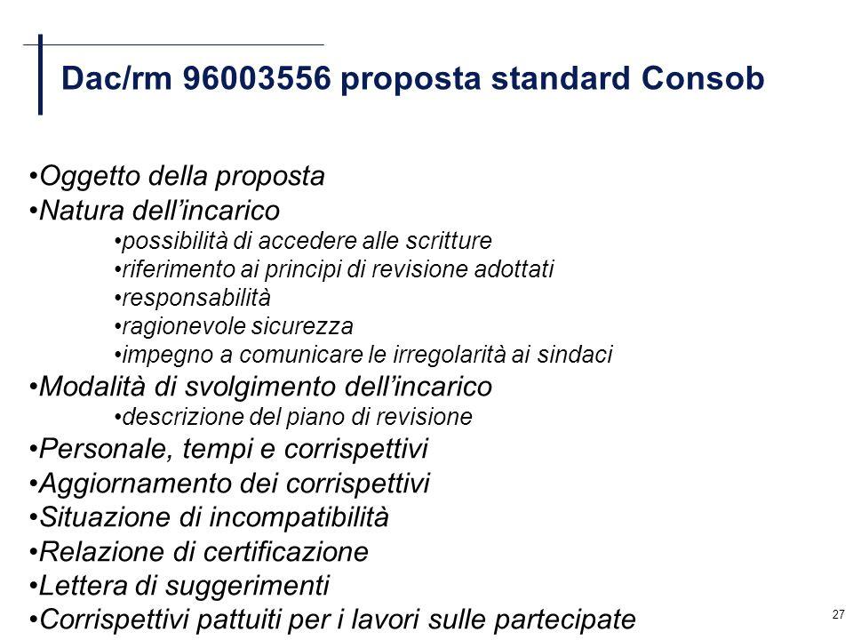 27 Dac/rm 96003556 proposta standard Consob Oggetto della proposta Natura dellincarico possibilità di accedere alle scritture riferimento ai principi
