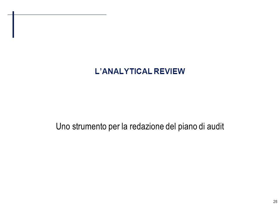 28 LANALYTICAL REVIEW Uno strumento per la redazione del piano di audit