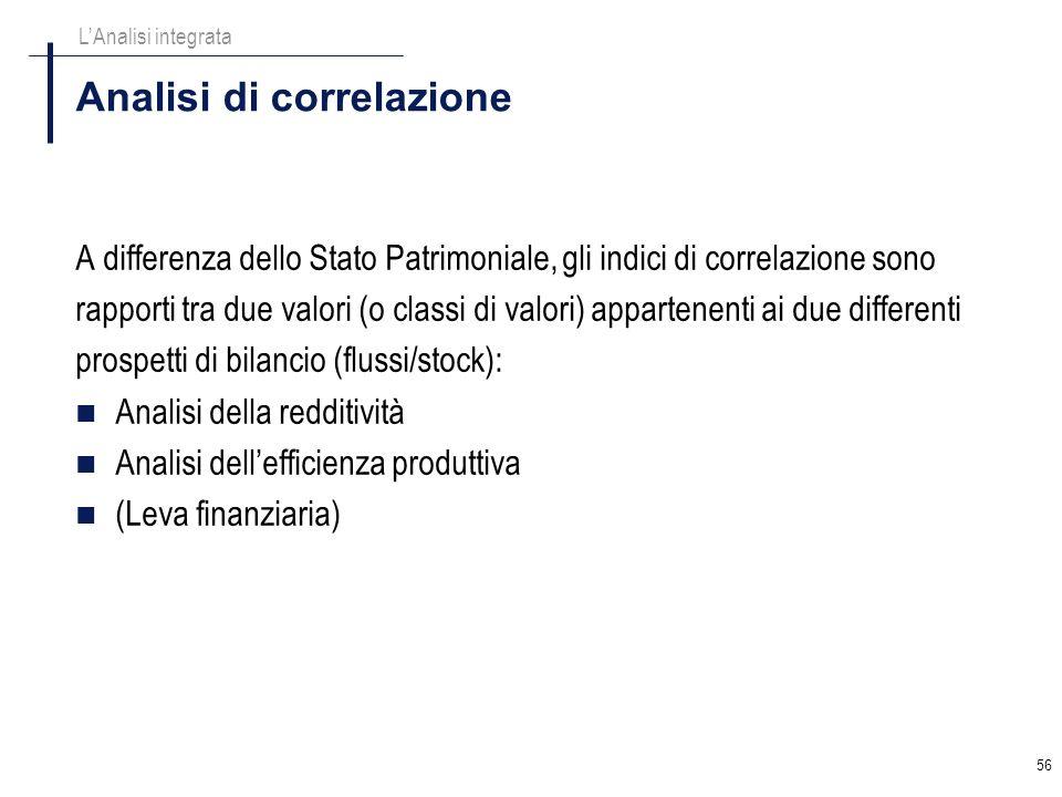 56 Analisi di correlazione A differenza dello Stato Patrimoniale, gli indici di correlazione sono rapporti tra due valori (o classi di valori) apparte