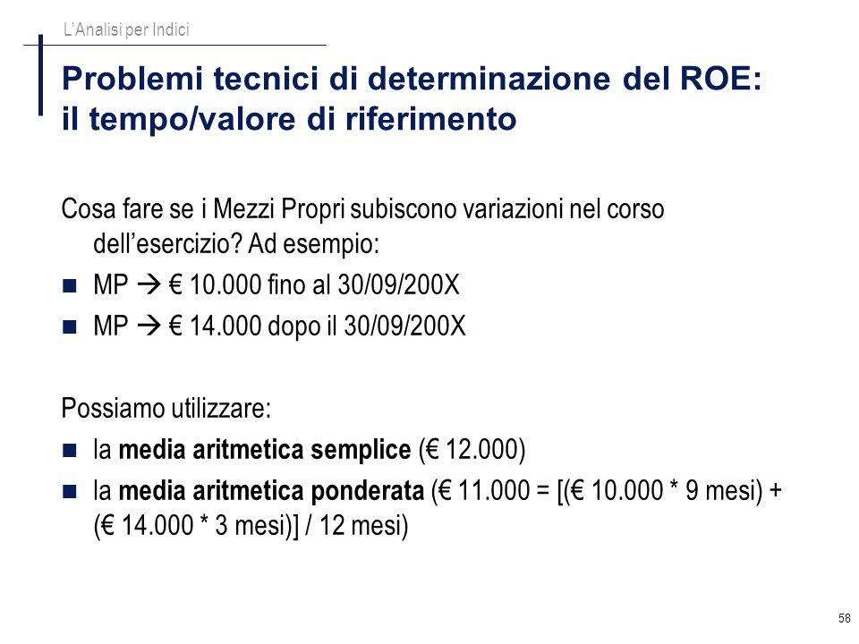 58 Problemi tecnici di determinazione del ROE: il tempo/valore di riferimento Cosa fare se i Mezzi Propri subiscono variazioni nel corso dellesercizio
