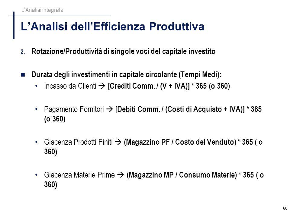 66 LAnalisi dellEfficienza Produttiva LAnalisi integrata 2. Rotazione/Produttività di singole voci del capitale investito Durata degli investimenti in