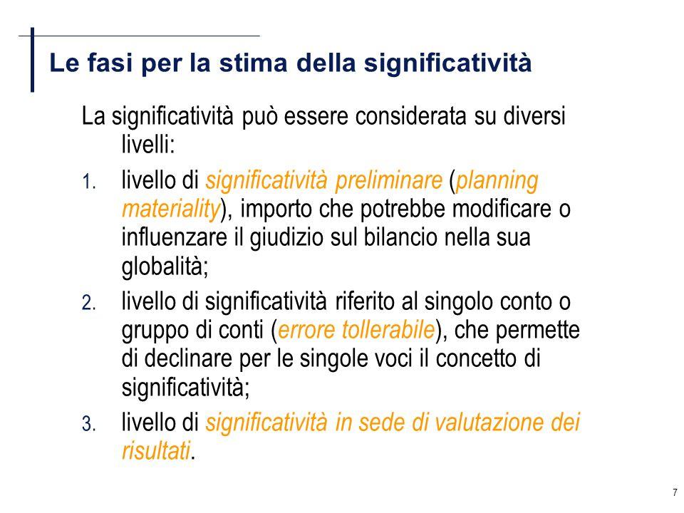 7 Le fasi per la stima della significatività La significatività può essere considerata su diversi livelli: 1. livello di significatività preliminare (