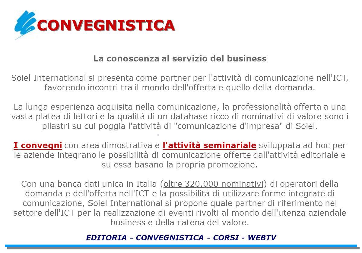 La conoscenza al servizio del business Soiel International si presenta come partner per l'attività di comunicazione nell'ICT, favorendo incontri tra i