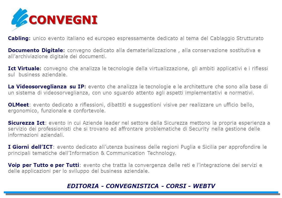 Cabling: unico evento italiano ed europeo espressamente dedicato al tema del Cablaggio Strutturato Documento Digitale: convegno dedicato alla dematerializzazione, alla conservazione sostitutiva e allarchiviazione digitale dei documenti.