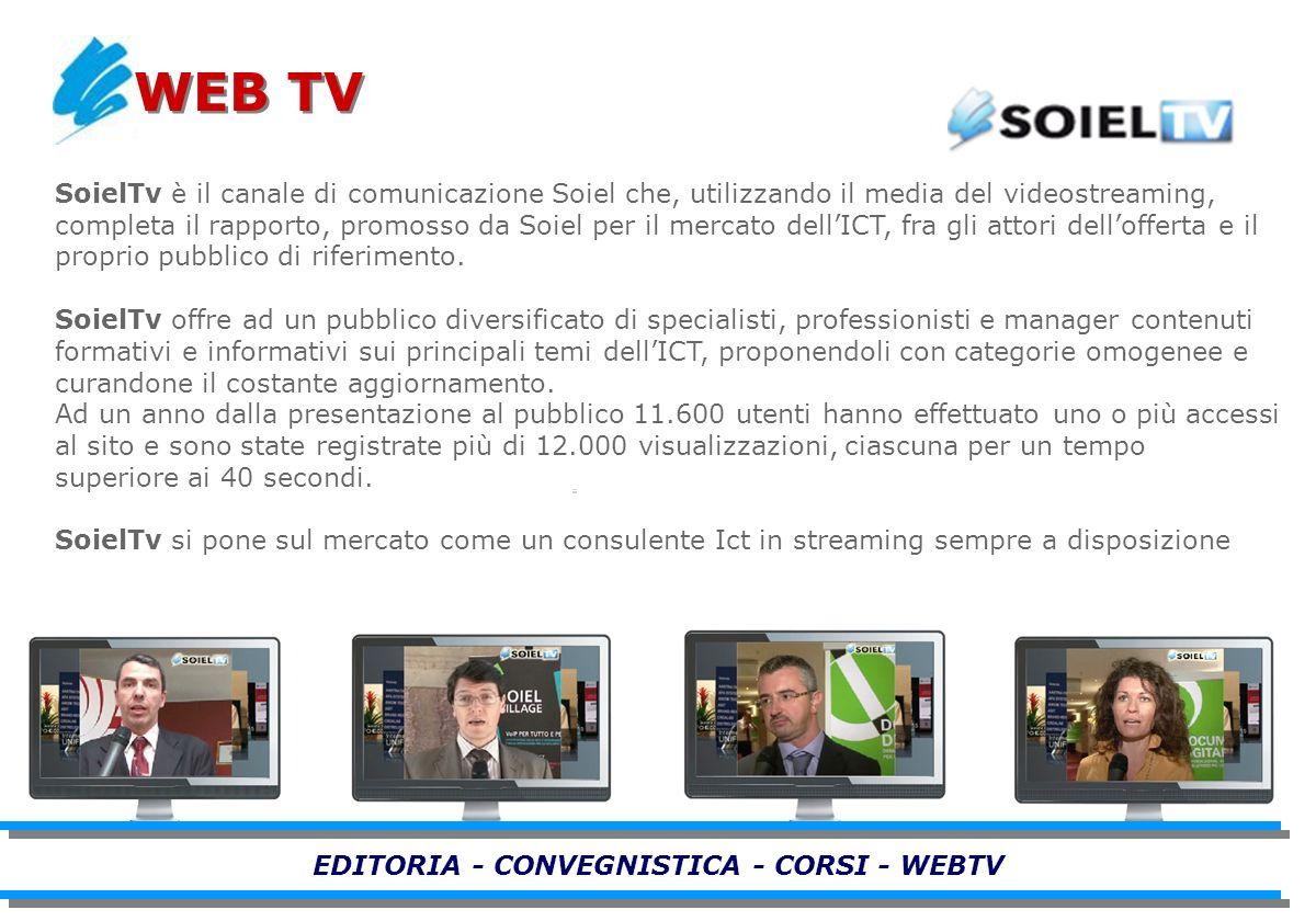 SoielTv è il canale di comunicazione Soiel che, utilizzando il media del videostreaming, completa il rapporto, promosso da Soiel per il mercato dellICT, fra gli attori dellofferta e il proprio pubblico di riferimento.
