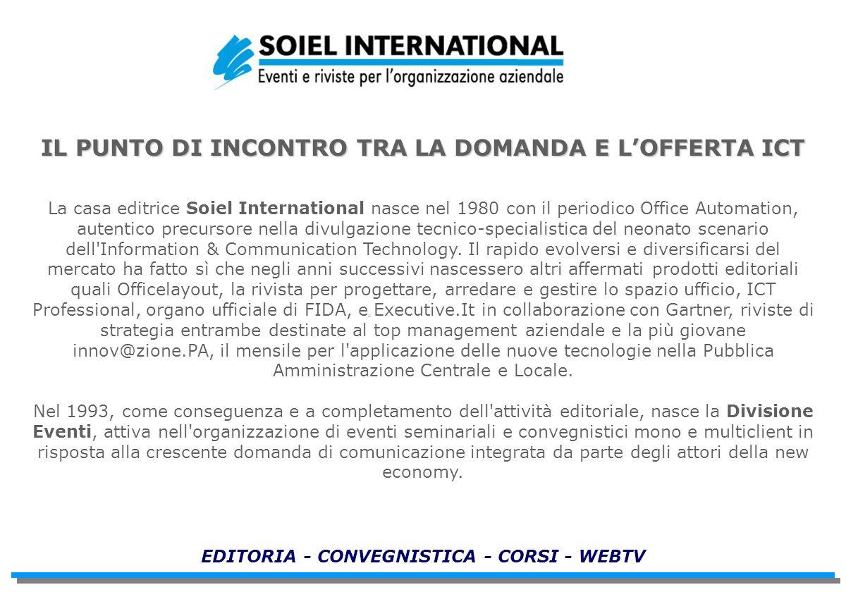 IL PUNTO DI INCONTRO TRA LA DOMANDA E LOFFERTA ICT La casa editrice Soiel International nasce nel 1980 con il periodico Office Automation, autentico p