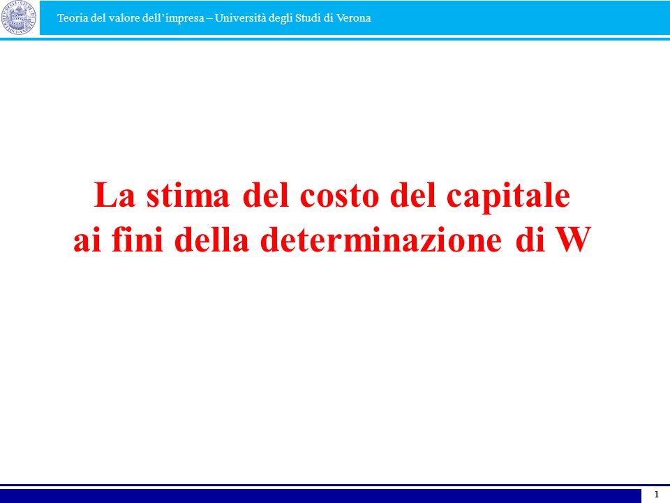 1 La stima del costo del capitale ai fini della determinazione di W Teoria del valore dellimpresa – Università degli Studi di Verona