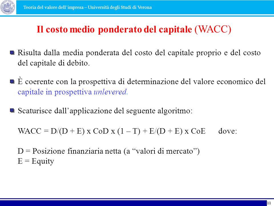 Il costo medio ponderato del capitale (WACC) Risulta dalla media ponderata del costo del capitale proprio e del costo del capitale di debito. È coeren