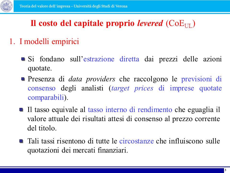 3 1. I modelli empirici Il costo del capitale proprio levered (CoE UL ) Si fondano sullestrazione diretta dai prezzi delle azioni quotate. Presenza di