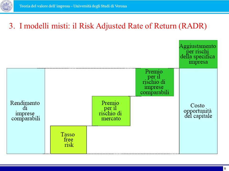 3. I modelli misti: il Risk Adjusted Rate of Return (RADR) Teoria del valore dellimpresa – Università degli Studi di Verona 8