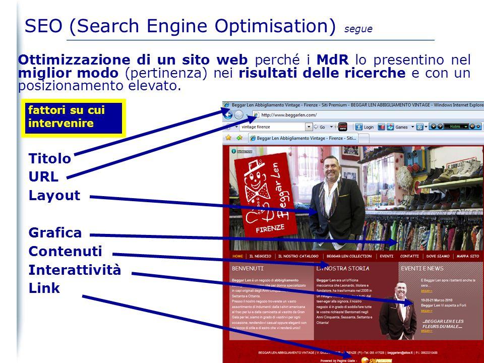 03/02/2014 23 La priorità nel listato organico (pagine web indicizzate dal MdR) è ottenuta con attività di SEO SEO (Search Engine Optimisation)