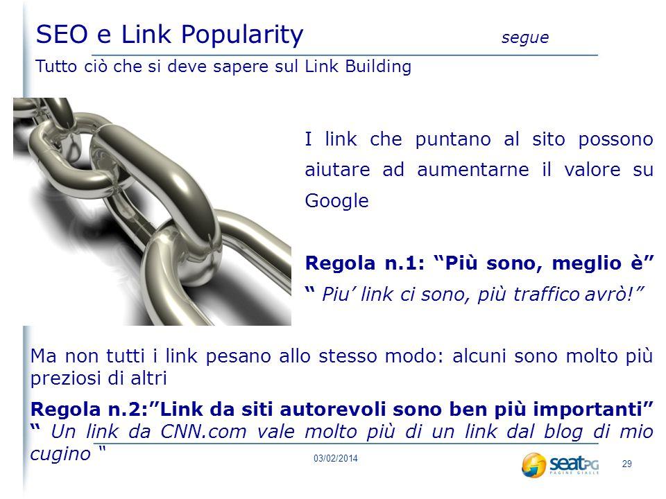 03/02/2014 28 SEO e Link Popularity Tutto ciò che si deve sapere sul Link Building